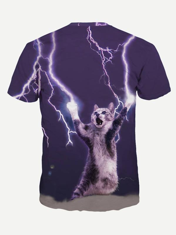 5a858be334 Camiseta de hombre con estampado de gato