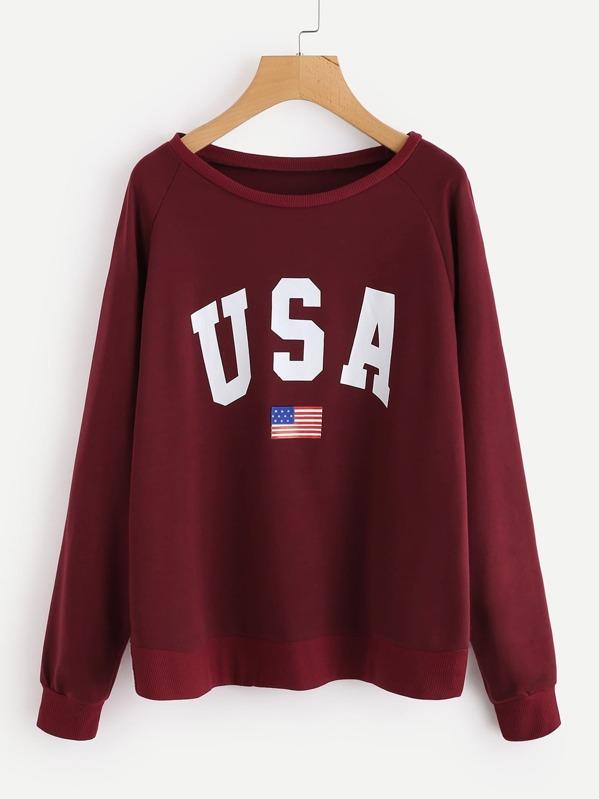 51343e33 Raglan Sleeve Letter Print Sweatshirt | SHEIN