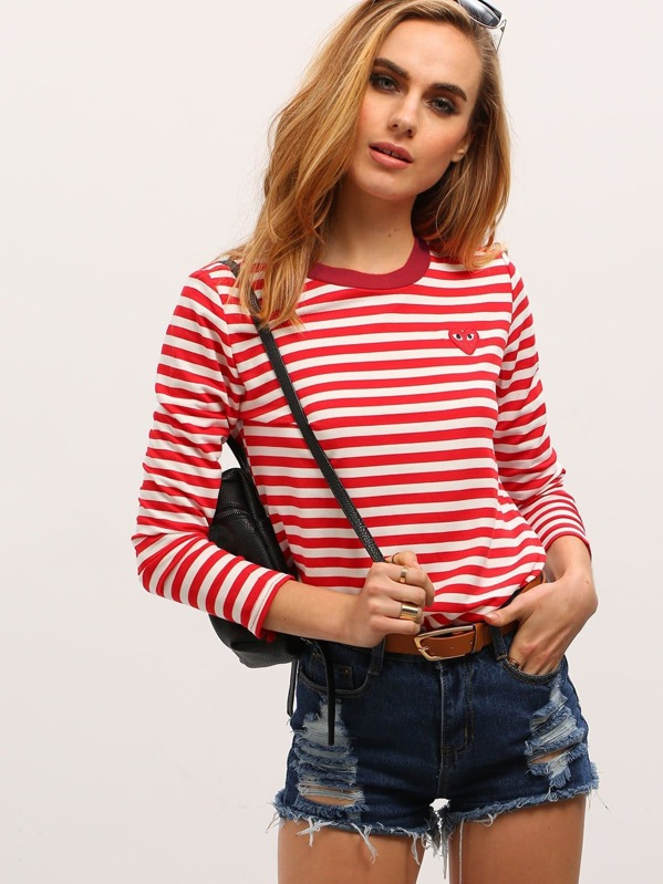 d87980748fe Red White Long Sleeve Striped T-Shirt