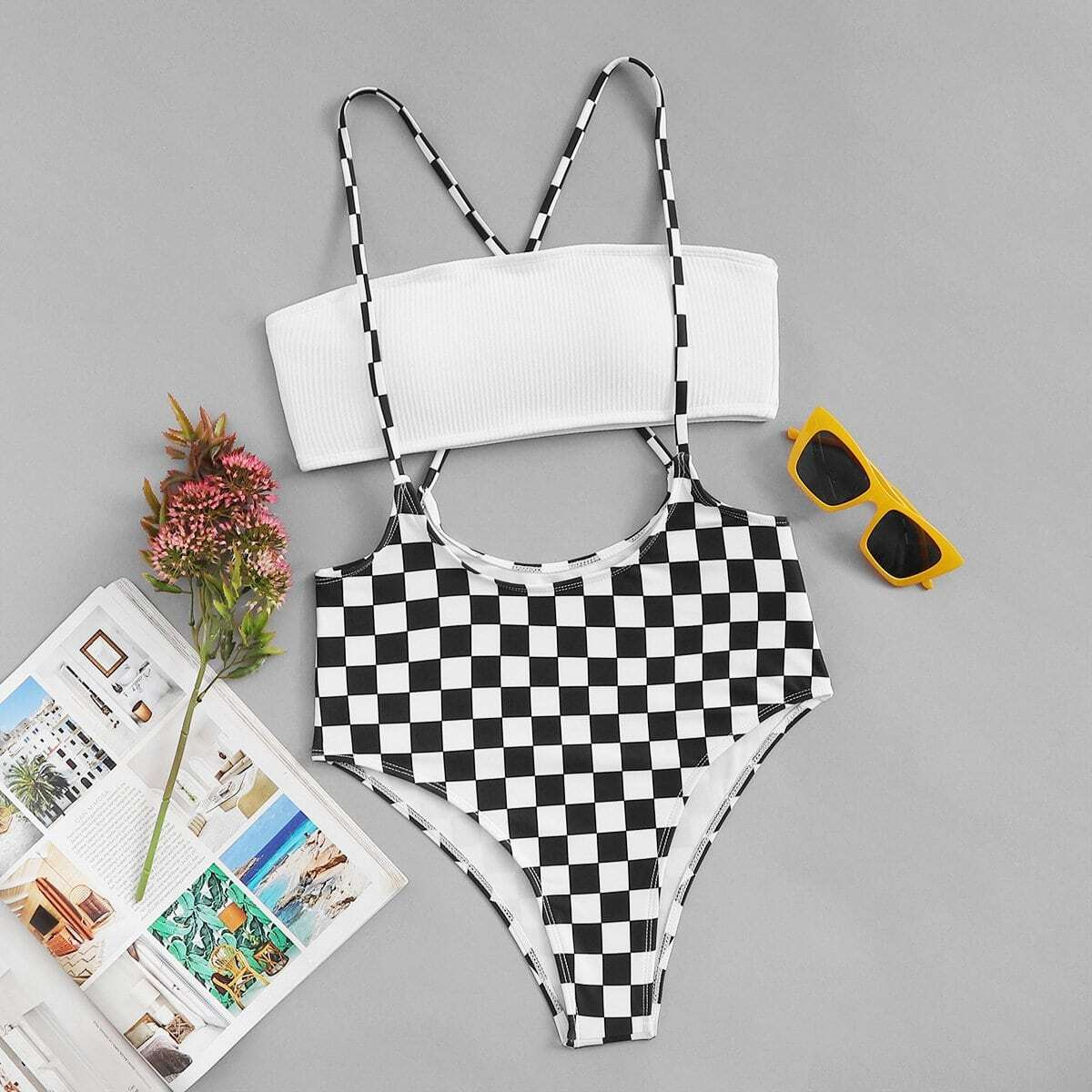 Bandeau Top With Checkered Suspender Two Piece Swimsuit