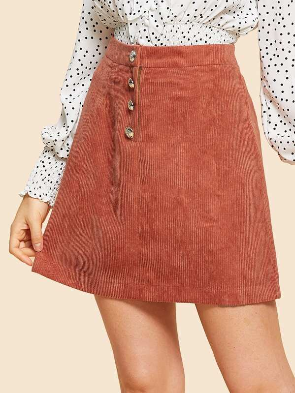 c3381f6869 Cheap Button Up Solid Corduroy Skirt for sale Australia | SHEIN