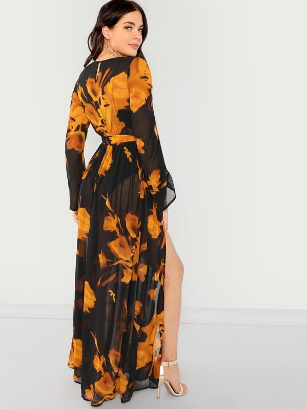 c161b2d2655f Floral Print V-Neck Long Sleeve Maxi Dress | SHEIN