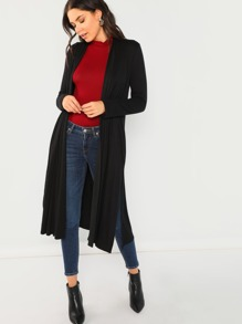 Long Sleeve Jersey Knit Solid Duster Coat