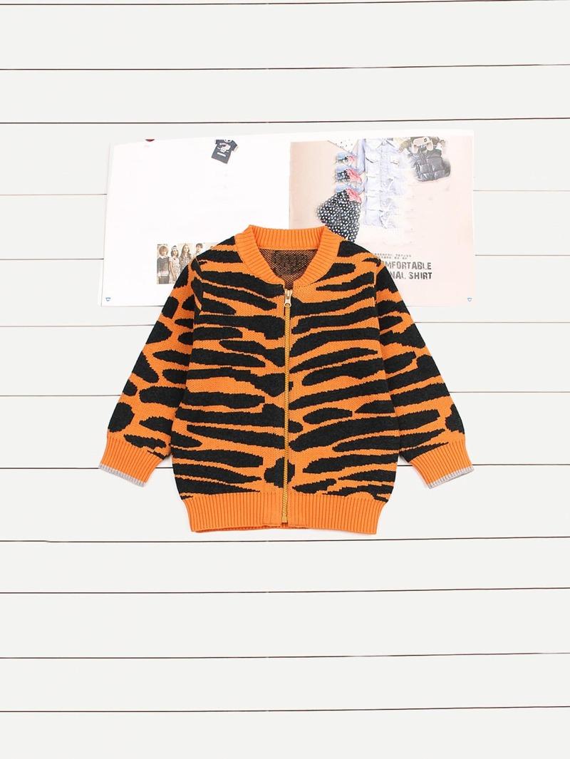 De Abrigo Jersey Niñas Pequeñas Tigre Estilo Rayas LRj543A