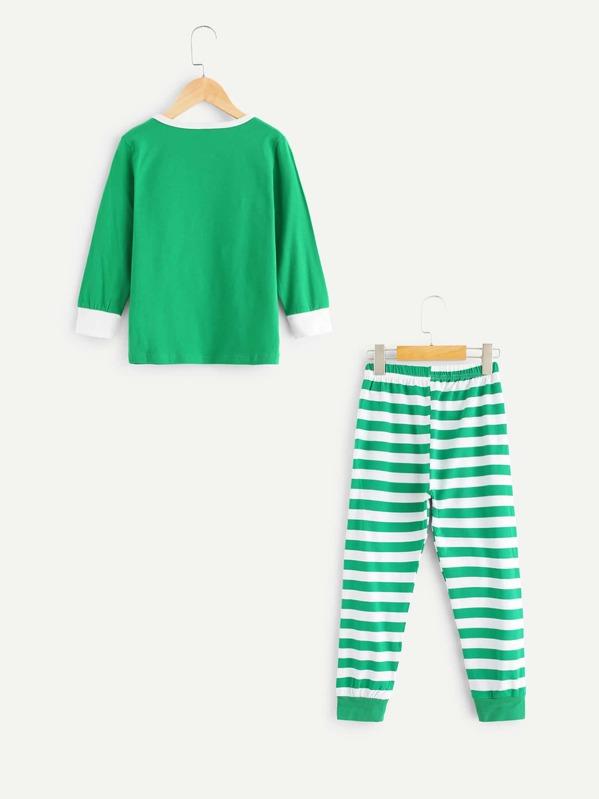 97af9a7106e0a Toddler Boys Cartoon Elk Top & Striped Pants | SHEIN