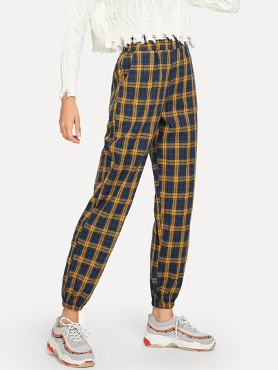 Plaid Pocket Front Pants