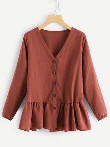 Plus Solid Button Decoration Ruffle Hem Blouse