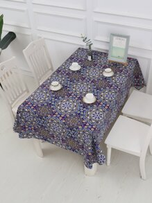 Flower Overlay Print Tablecloth