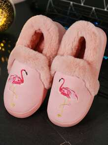 Flamingo Print Fluffy Slippers