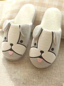 Dog Pattern Flat Slippers