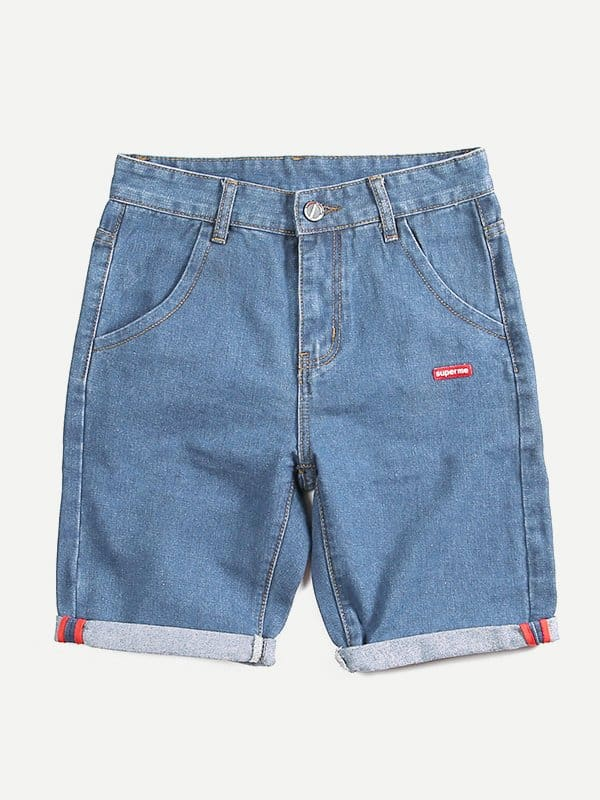 Men Patched Detail Solid Denim Shorts Men Patched Detail Solid Denim Shorts