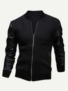 Men Contrast PU Sleeve Bomber Jacket