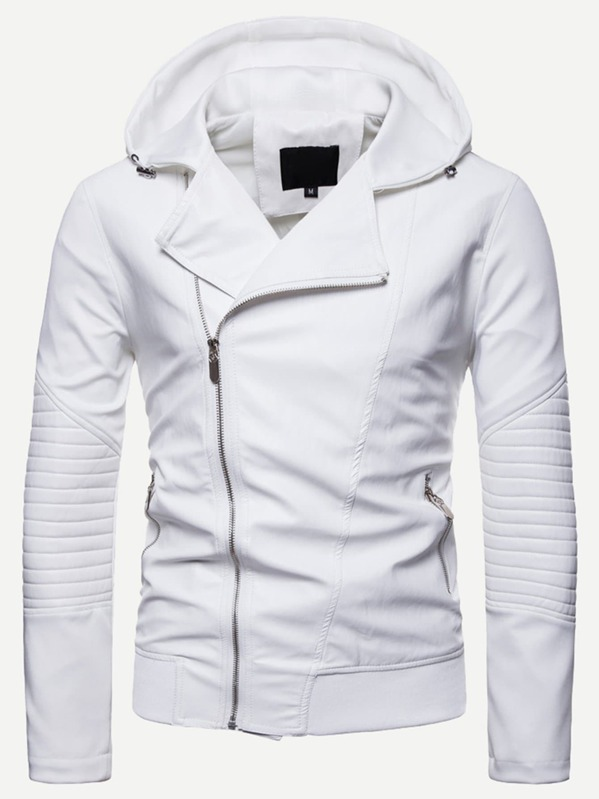 79cc7a7fab Men Solid Zip Hooded Jacket | SHEIN