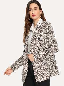 Double Breasted Leopard Print Blazer