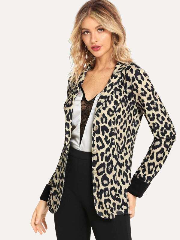 buy online 11c4d 09f22 Blazer avec imprimé léopard   SHEIN