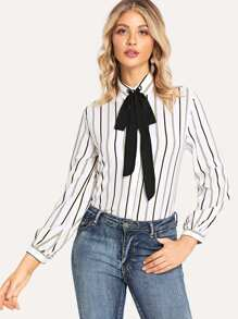 Contrast Tie Neck Striped Blouse