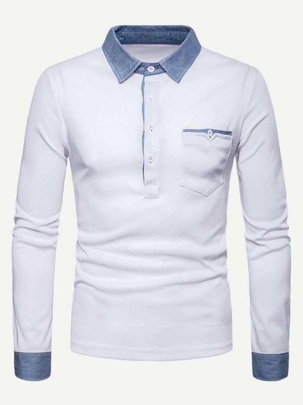 bc67682c4 Men Contrast Trim Polo Shirt