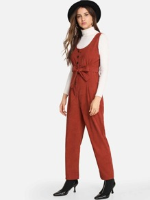 Single Breasted Belted Solid Jumpsuit