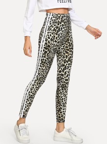 Leopard Striped Tape Side Leggings