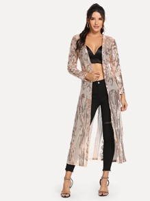 Contrast Sequin Open Front Outerwear