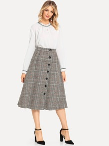 Houndstooth Single Breasted Skirt