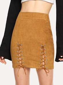 Grommet Lace Up Suede Skirt