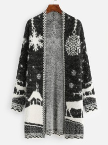 Christmas Snowflake And Deer Print Knit Coat