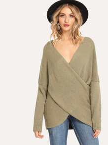Drop Shoulder V Neck Solid Sweater