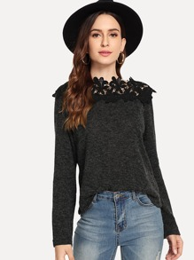 Contrast Lace Solid Jumper
