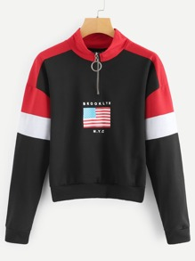 Drop Shoulder Flag Print Sweatshirt