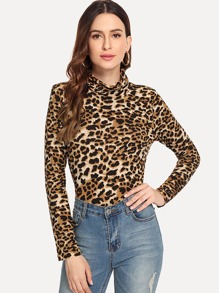 Leopard High Neck Tee