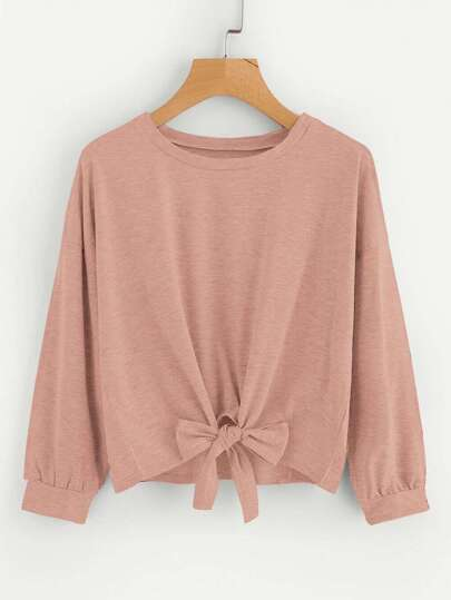 Drop Shoulder Knot Front Sweatshirt