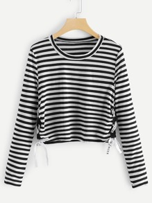 Letter Taped Striped Tee