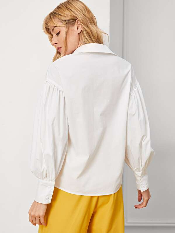 5d3349ff59dc67 Bishop Sleeve Frill Blouse