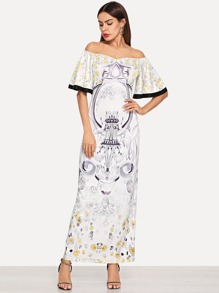 Contrast Binding Flutter Sleeve Floral Bardot Dress