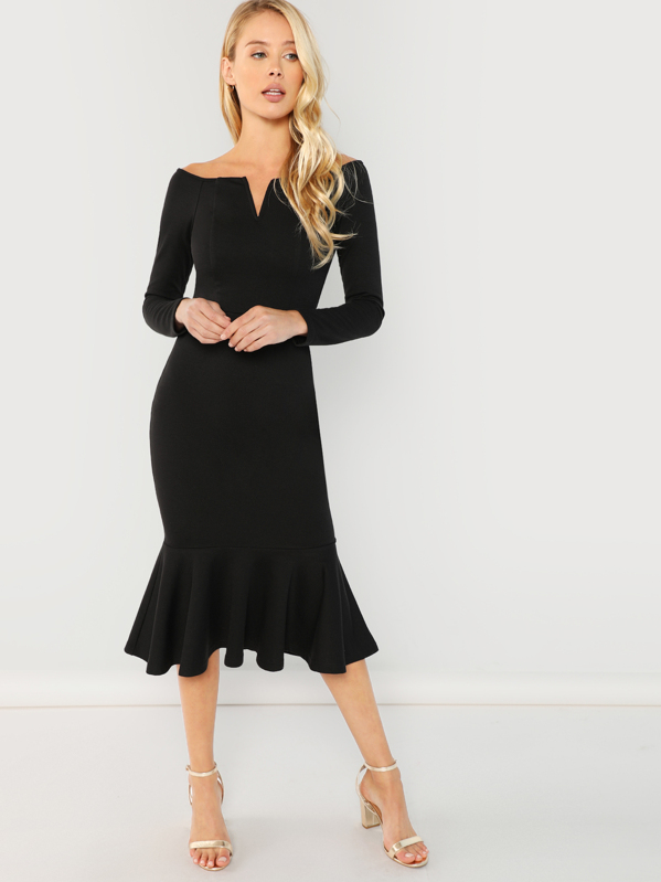 03c440ad6c Off Shoulder Fishtail Hem Dress