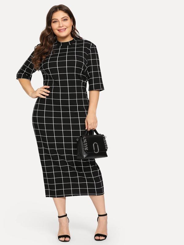 0acaf7762549 Plus Mock Neck Grid Print Form Fitting Dress   SHEIN