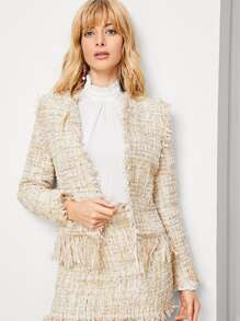 Frayed Edge Open Front Tweed Coat
