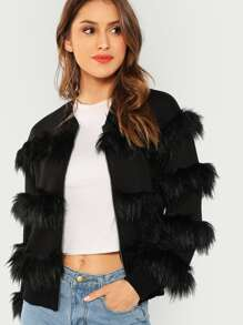 O-Ring Zip Up Faux Fur Contrast Coat
