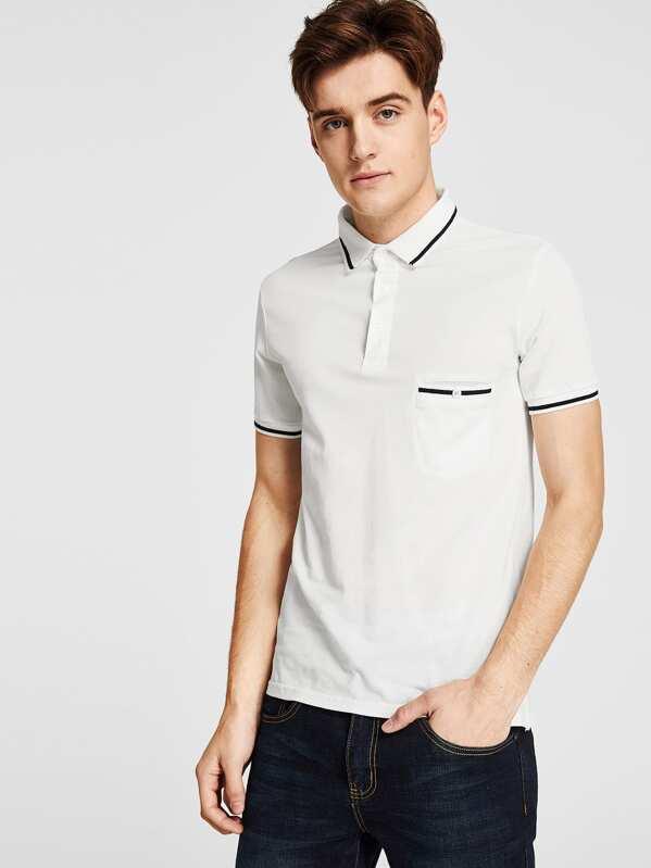 Shirt Avec Poche À Tee Bouton Col Homme Et Relevé 0nN8mOvw
