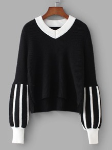 Contrast Trim High Low Striped Sweater