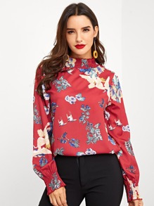 Flower & Animal Print Blouse