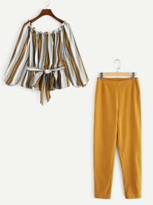 Striped Bardot Top & Cigarette Pants Set