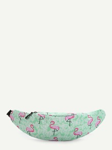 Flamingo Print Canvas Bum Bag