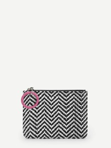 Chevron Pattern Ring Detail Purse
