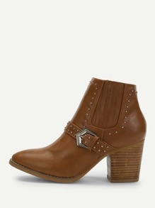 Rivet Detail Buckle Side Western Ankle Heeled Boots