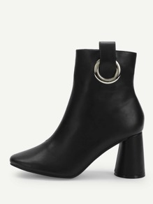Ring Decor Zipper Side Ankle Boots