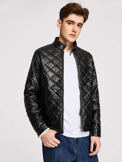 Men Quilted Faux Leather Jacket