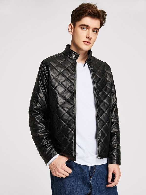 d32172fa25 Men Quilted Faux Leather Jacket | SHEIN IN