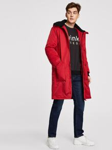 Men Pocket Front Hooded Parka Coat